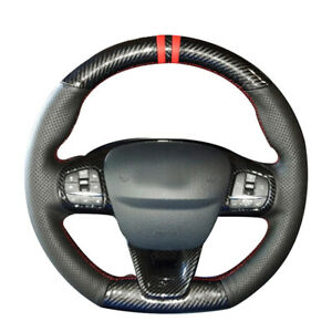 Carbon Fiber Black Leather Car Steering Wheel Cover For Ford Focus Fiesta St