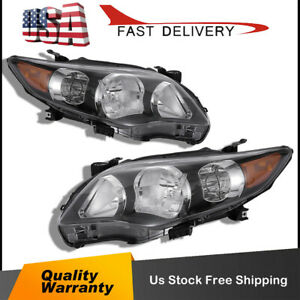 For 2011 2013 Toyota Corolla Black Headlights Lamps Aftermarket Left Right Us