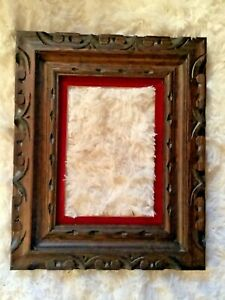 Vtg Mid Century Modern Mexico Carved Wood Wooden Picture Frame