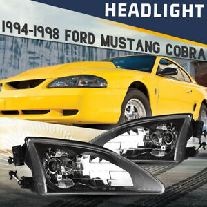 Fits 94 98 Ford Mustang Cobra Headlights Replace Lamps Pair Black Clear W Bulbs