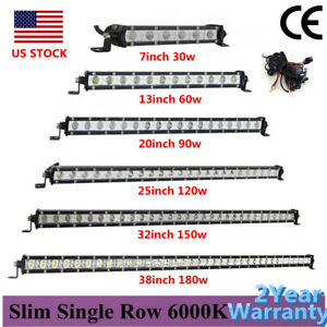 7 13 20 25 32 38 Inch Ultra Slim Single Row Led Work Light Bar Off Road Suv Atv