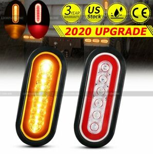 2x Rv Trailer Truck Amber red 6 Led Mount 6 Oval Stop Turn Tail Brake Lights