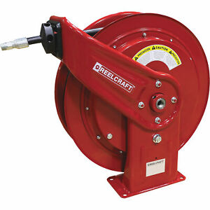 Reelcraft Spring Retractable Oil Hose Reel W 1 2inx65ft Hose 3250 Max Psi