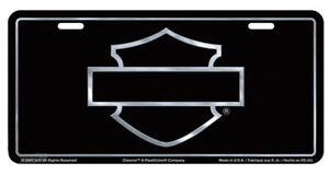 Harley davidson Black Front License Plate With Silver tone Bar Shield Cg2103