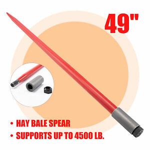 49 Hay Bale Spear 4500lb Capacity Quick Attach For Skid Steer Tractor Lift More
