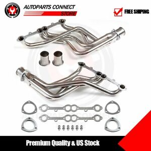 Fits Gmc C1500 Small Block For Chevy C10 Truck Header Set Sliver Stainless Steel