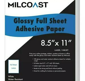 Milcoast Full Sheet 8 5 X 11 Shipping Sticker Labels Glossy