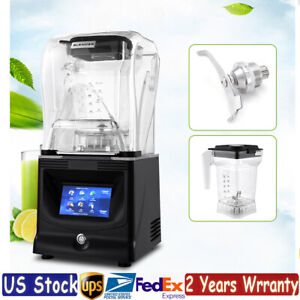 1 2l Commercial Fruit Blender Mixer Smoothie Juicer Ice Crusher Soundproof Cover