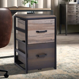 Us Office Home Large File Cabinet Mdf Vertical Filing Cabinet W 2 Drawers Brown
