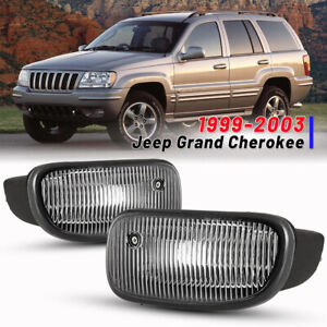For 99 03 Jeep Grand Cherokee Bumper Fog Lights Factory Replacement Clear Pair