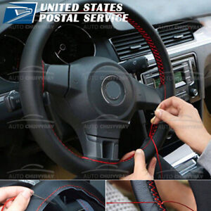 Car Steering Wheel Cover Black Red Genuine Leather Diy With Needles And Thread