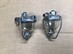 2 Vintage Glass Bowl Fuel Filter Strainers Tillotson Toledo Ohio Made In Usa
