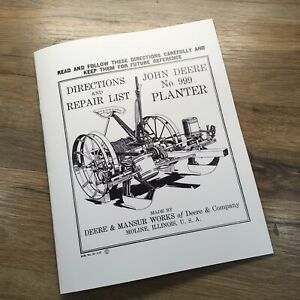 Operators Parts Manual For John Deere 999 Planter Owners Book Directions Service