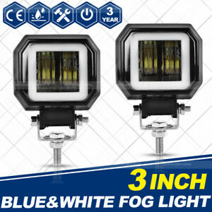 2pcs 3inch 40w Square Led Work Light Bar Pods Spot Driving Lamp Halo Drl Atv 4wd