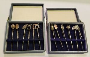Sterling Silver Cocktail Martini Picks Hors D Oeuvre Forks Asian Themed Marked