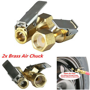 2pcs Tire Inflator Open Flow Straight Lock on Air Chuck With Clip