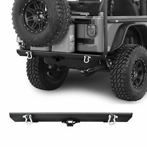 Texture Rear Bumper For 87 06 Jeep Wrangler Tj Yj With 2 Hitch Receiver D Rings