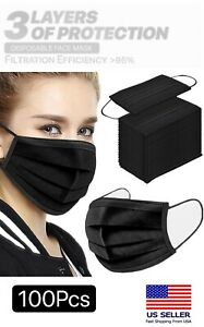 100pcs Black 3 ply Face Mask Disposable Non Medical Surgical Earloop Mouth Cover