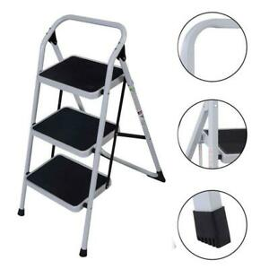 3 Step Ladder Folding Non Slip Safety Tread Industrial Home Use Multi Purpose