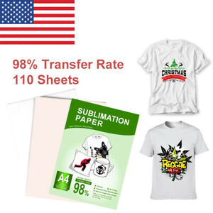 110 Sheets Heat Transfer Sublimation Paper With Sublimation Ink For T Shirt Mugs