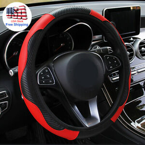 Universal 15 Steering Wheel Cover Carbon Fiber Microfiber Leather Fits Car Suv