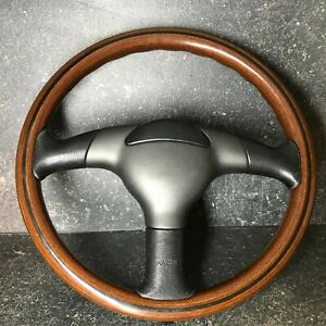 Nardi Vintage Original Steering Wheel Wooden 360mm With Rare Horn
