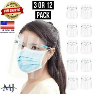 12 Pack Face Shield Guard Mask Safety Protection With Glasses Reusable Anti Fog