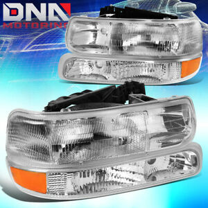For 1999 2006 Chevy Silverado Suburban Tahoe Chrome Clear Headlight Bumper Lamps