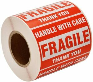2 Roll 500 Shipping Labels Fragile Stickers Tape 2x3 Handle With Care Warning