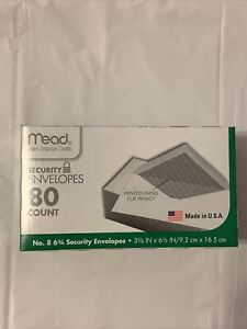 Mead Security Envelopes 80 Count Printed Lining For Privacy Mead Envelope 8