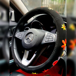 Flowers Steering Wheel Cover Universal 15 Inches Floral Covers For Women Girl