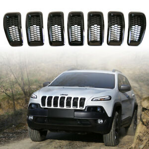 Black Grille Ring With Black Mesh Grill Inserts For 2014 2018 Jeep Cherokee