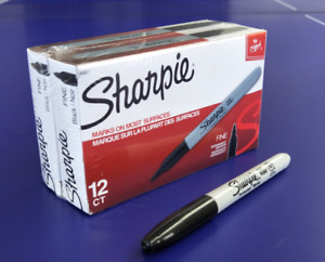 Sharpie Black Super Permanent Markers Fine Point 24 Counts Marking Pen 30001