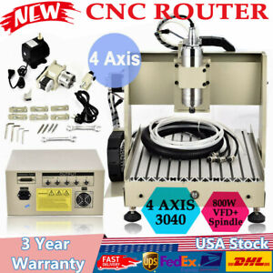 4 Axis Cnc 3040z Router Engraver Machine Ball Screw Milling Drilling Wood 3d Us