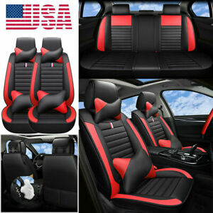 Luxury Suv Car Seat Covers W Pillows Red Black Pu Leather Cushion For Bmw Honda