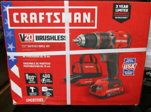 Craftsman Cmcd721d2 20v Lithium Ion Brushless 1 2 Hammer Drill Kit