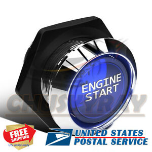 Car Engine Start Push Button Switch Ignition Starter Kit Blue Led Light Switch