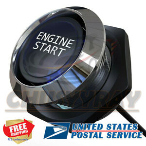 Engine Starter Switch Push Button 12v W Blue Led Light Illumination Kit