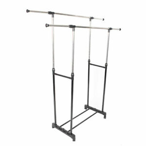 Rolling Portable Adjustable Clothes Rack Double Bar Rail Hanging Garment Hanger