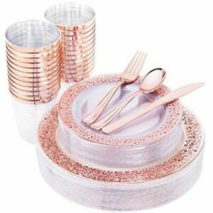 Iooooo 150 Pcs Rose Gold Plastic Plates Silverware Disposable Cups Laced