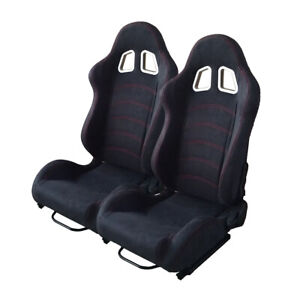 2pcs Universal Black Car Racing Seats Suede Leather Reclinable Bucket W Sliders