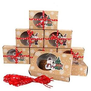 12 Packs Christmas Cookie Boxes With Window Food Grade Kraft Bakery Boxes With