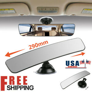 Universal 290mm Wide Flat Interior Suction Cup Car Rear View Clear Glass Mirror