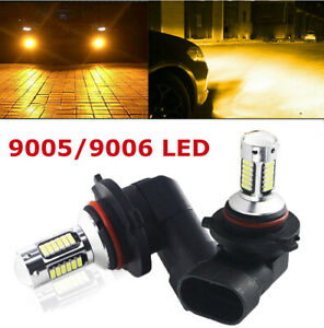 2x Led 9005 9006 3000k Drl Fog Light Driving Bulbs 300w Golden Yellow High Power