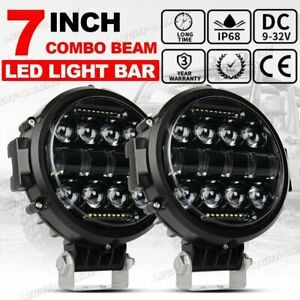 2x 7 Inch 200w Round Off Road Spot Led Work Lights For Jeep Bumper Truck Boat