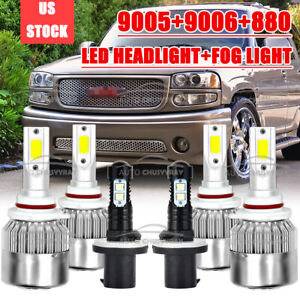 Combo 9005 9006 880 Led Headlight Fog Bulbs White For Gmc Yukon Denali 2001 2006