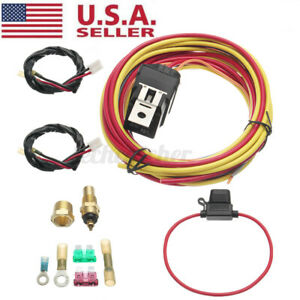 40 Amp 165 To 185 Dual Electric Fan Relay Wiring Harness Thermostat Sensor Kit