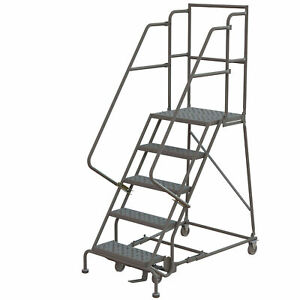 5 step Steel Rolling Ladder W perforated Steps Gry 16inwx20ind Plat 450lb Cap