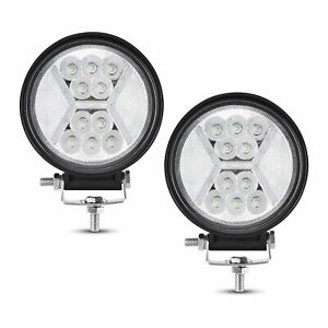Pair 5 Inch Led Work Light Round Spot Flood Driving Fog Lamp Suv Atv Offroad