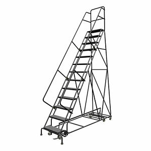 13 step Steel Rolling Ladder W perforated Steps 130inh Top Step 24in 450lb Cap